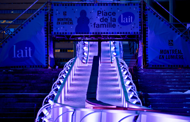The Milk Urban slide at Esplanade de la Place des Arts