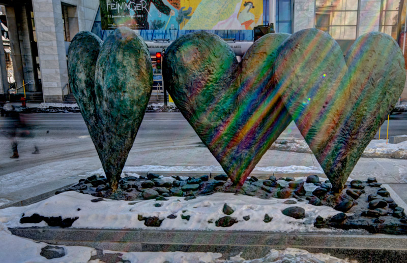 Three Hearts on a Rock sculpture by Jim Dine