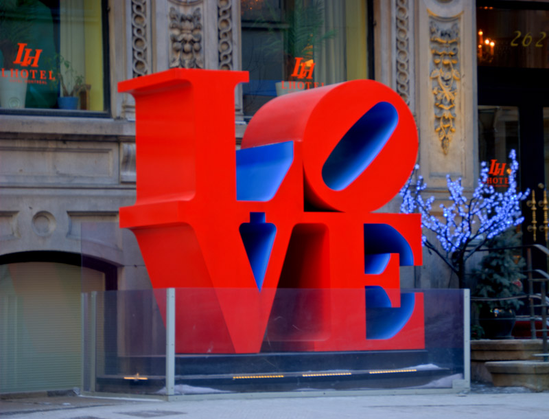 LOVE sculpture by Robert Indiana on rue Saint Jacques, Montreal