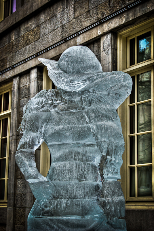 Female wearing a hat Ice Sculpture - Marché Bonsecours
