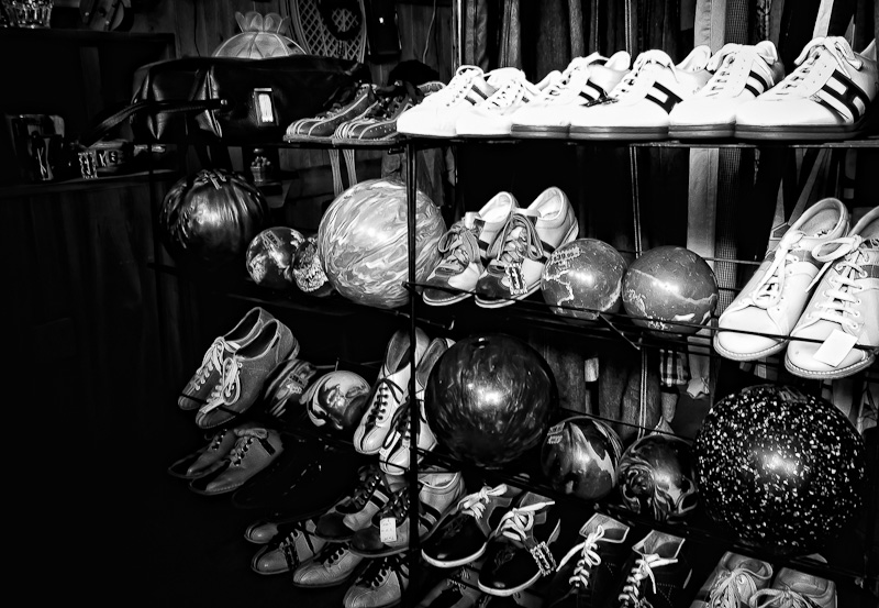 Vintage bowling balls and shoes at Kitsch n Swell