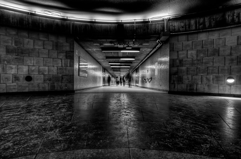 Underground City tunnel leading to Square Victoria Metro station