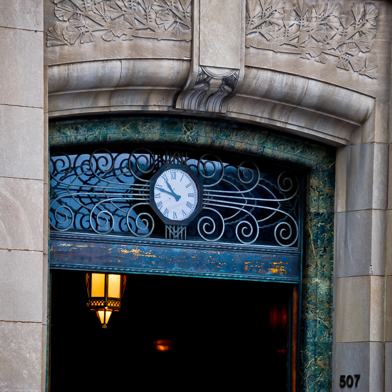 Aldred Building entrance clock