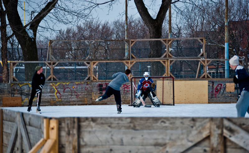Ice Hockey game on Jeanne-Mance Park