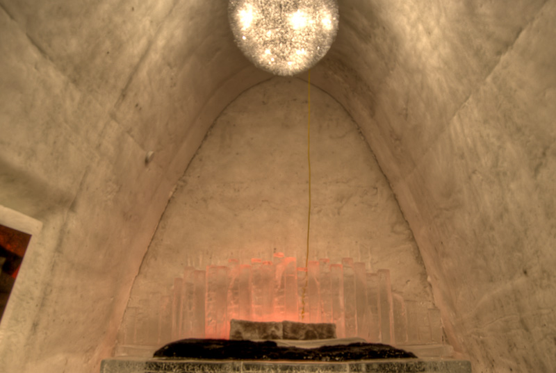 Another prestige suite at the Montreal Ice Hotel - complete with chandelier