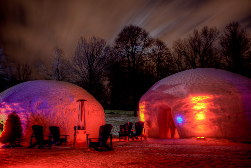 Igloo area of the Canada Snow Village at night