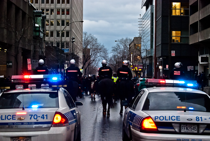Police following Montreal student protesters