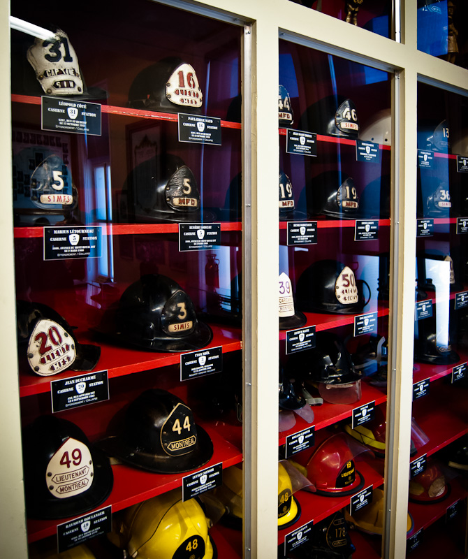 The helmets of fallen Montreal Firefighters