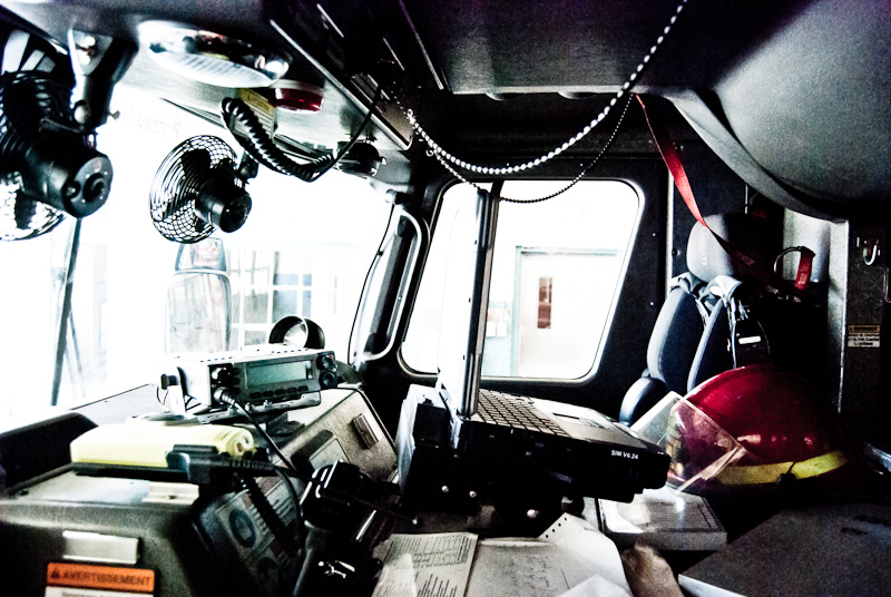 Inside a fire engine