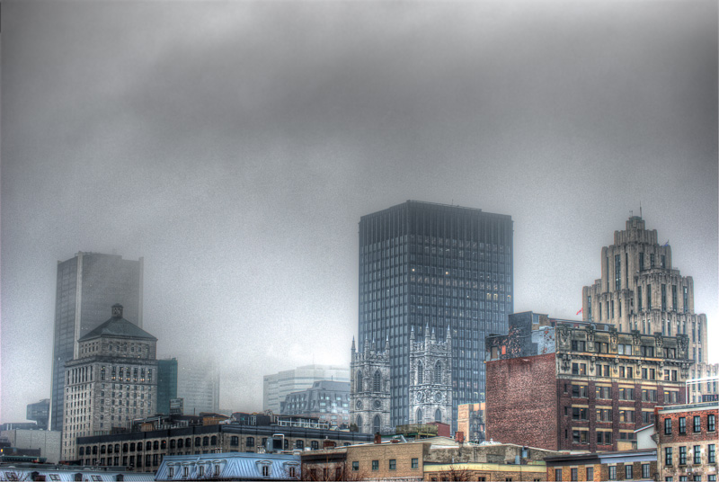 Montreal Skyline shrouded in mist