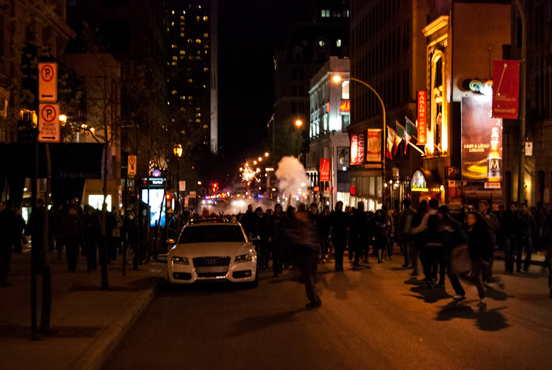 Police use Tear gas and flash bangs to break up protesters