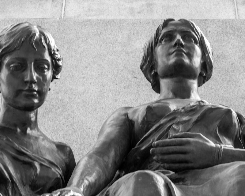 Statues at the base of the George Étienne Cartier monument