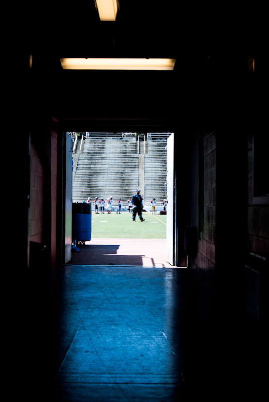 Players tunnel at the Percival Molson Stadium