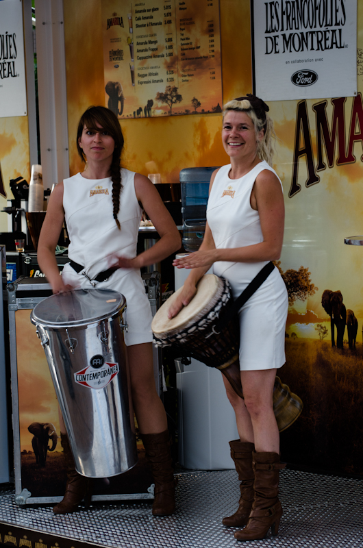 The Amarula girls drumming up business