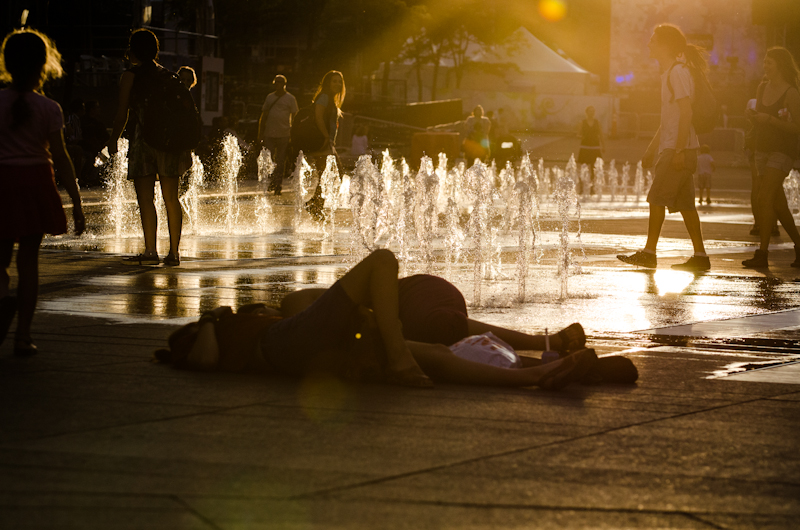 Couple enjoying the sunset on Place des Festivals