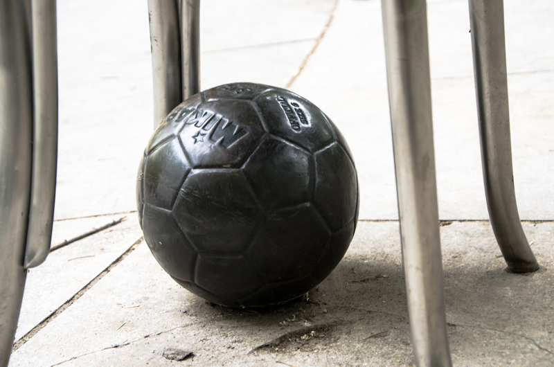 Football beneath a Michel Goulet chair
