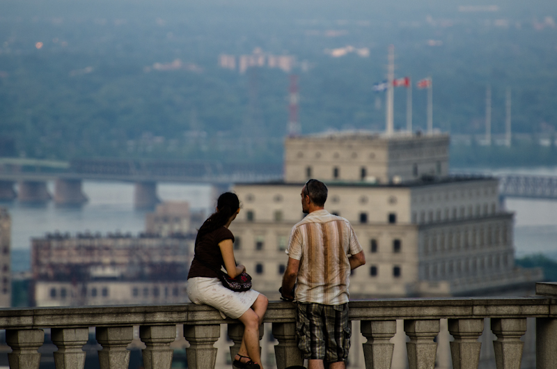 Couple enjoying Montreal skyline