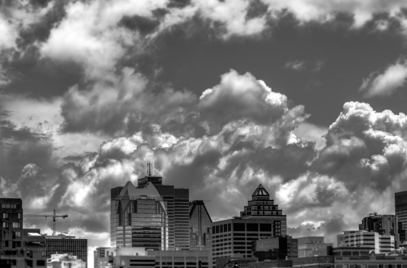 Storm clouds over downtown Montreal