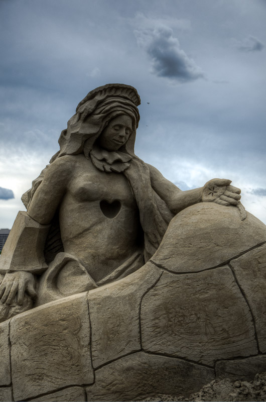 Sand sculpture on the Quai de l'Horloge in Old Montreal