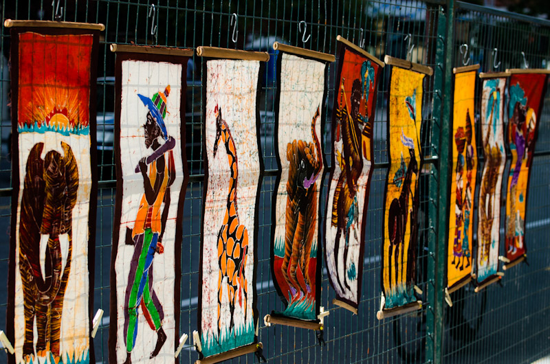 Colorful wall hangings at the Nuits d'Afrique festival