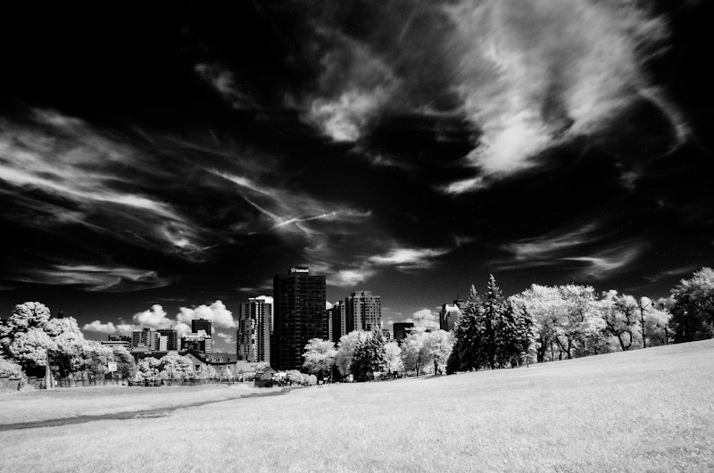 Montreal skyline in infrared