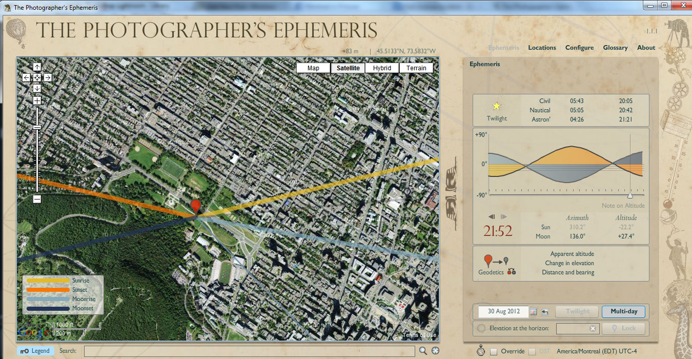 Screenshot of The Photographer's Ephemeris