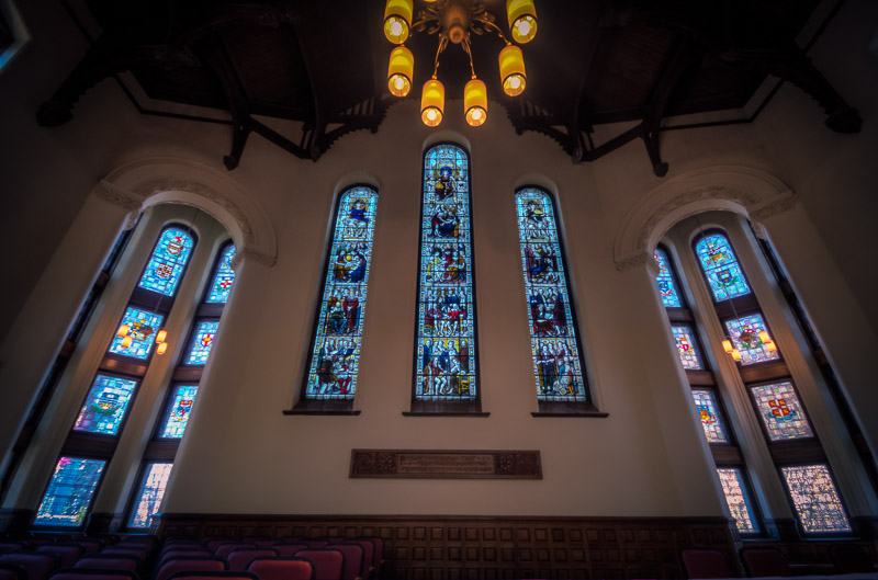 Stain glass windows at Redpath Hall