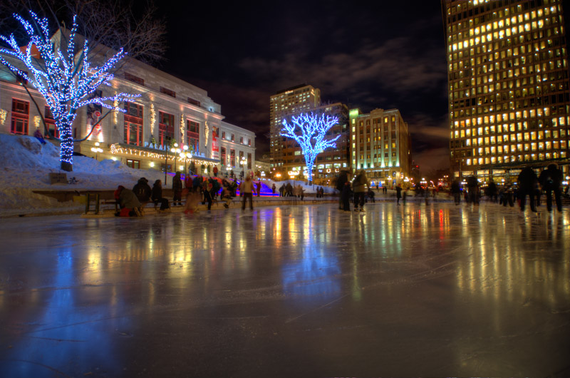 Ice skating in Carré d'Youville, Quebec City