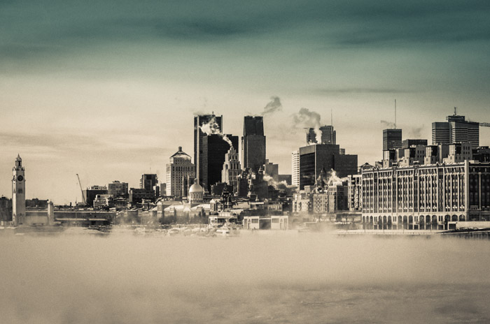Montreal skyline with steam fog