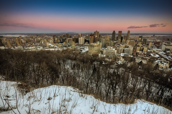 View of Montreal at sunset from Mount Royal