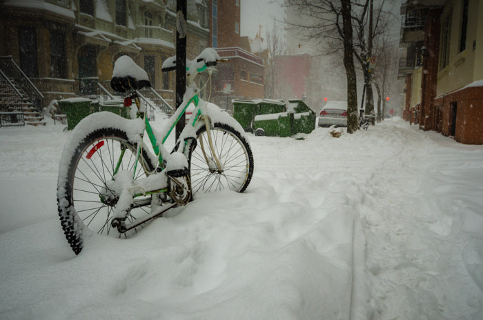 Bike under snow in McGill Ghetto