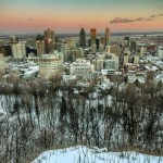 Montreal skyline at dusk from Mount Royal