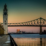 Clock Tower and Pont Jacques Cartier at dusk