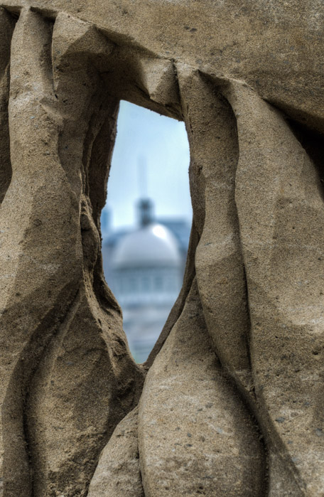 Marché Bonsecours framed in sand