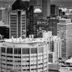 Montreal skyline in monochrome