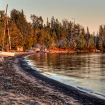 Macamic Lake beach at sunset
