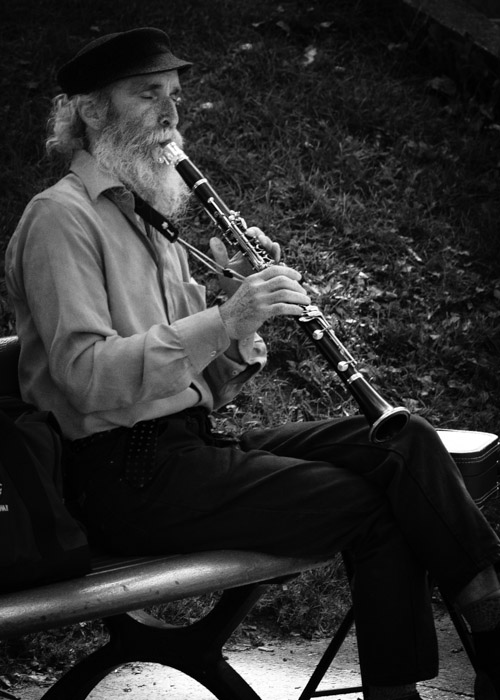Clarinet player at the Tam Tams on Mount Royal