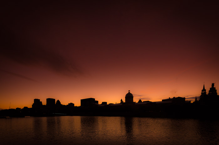 Silhouette of Montreal skyline at sunset