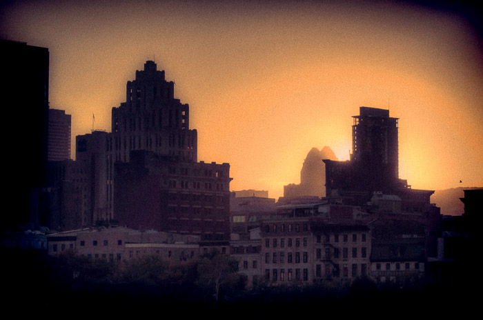 Old Montreal retro sunset