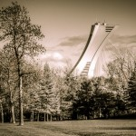 Olympic Stadium seen from Parc Maisonneuve