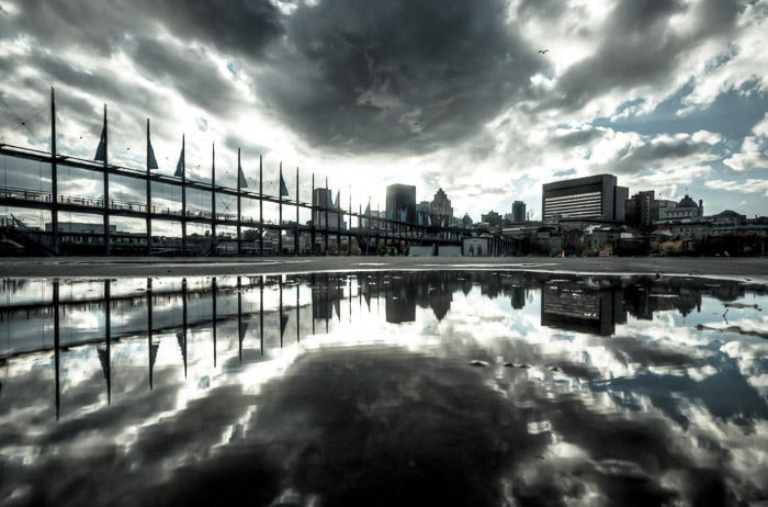 Montreal skyline in a puddle