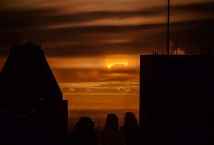 Partial solar eclipse in Montréal