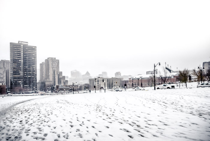Montreal skyline in the snow
