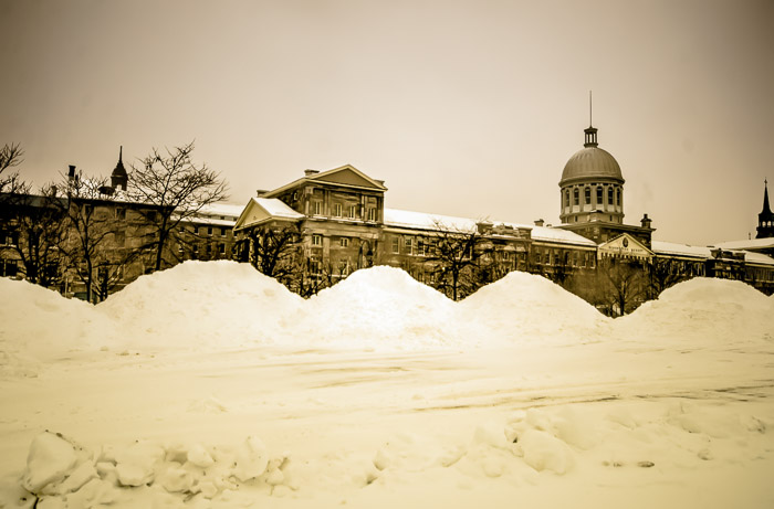 Marché Bonsecours under snow
