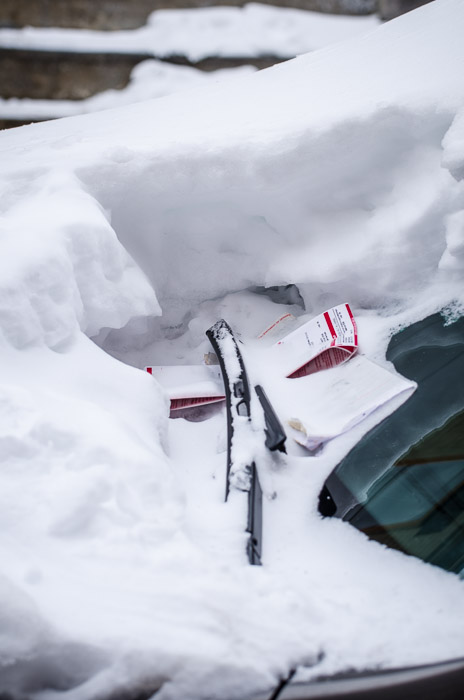 Parking ticket under snow