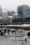 Ice fishing in the Old Port of Montreal