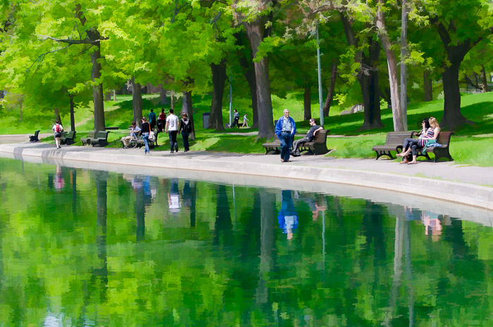 A walk in Parc Lafontaine with paint effect