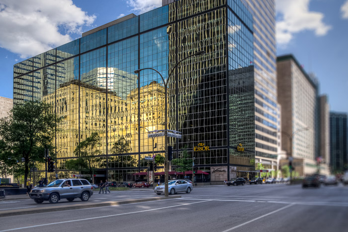Reflections on the corner of René-Lévesque and University