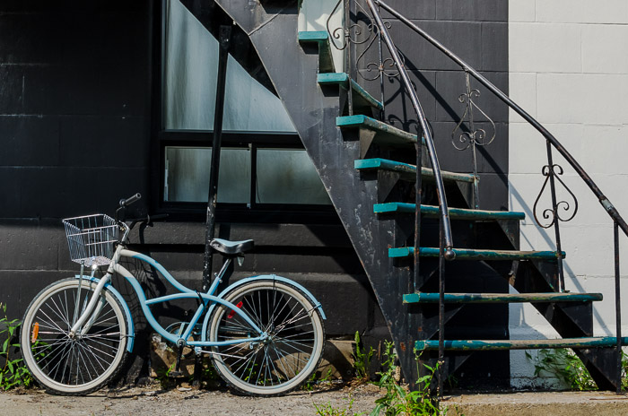 Blue bike and stairs