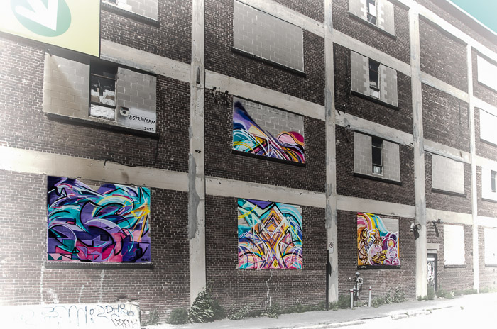 Philippe Mastrocola canvases on Rue Ann